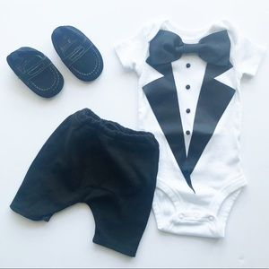 0-3M Tuxedo Onesie with Bow Tie, Shorts, Shoes